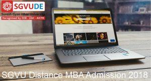 SGVU University Distance MBA admission 2018